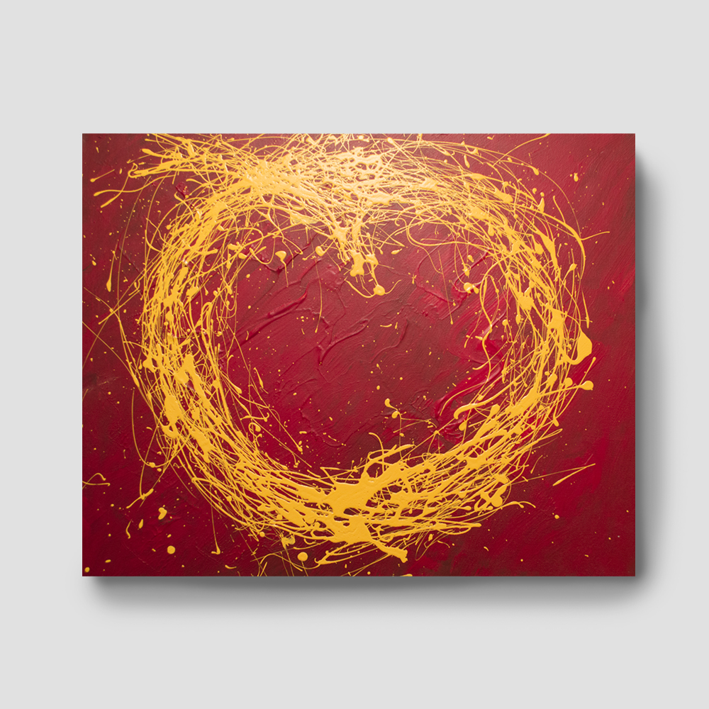 Gold splash acrylic abstract painting 30 39 39 x 24 for Gold paintings on canvas