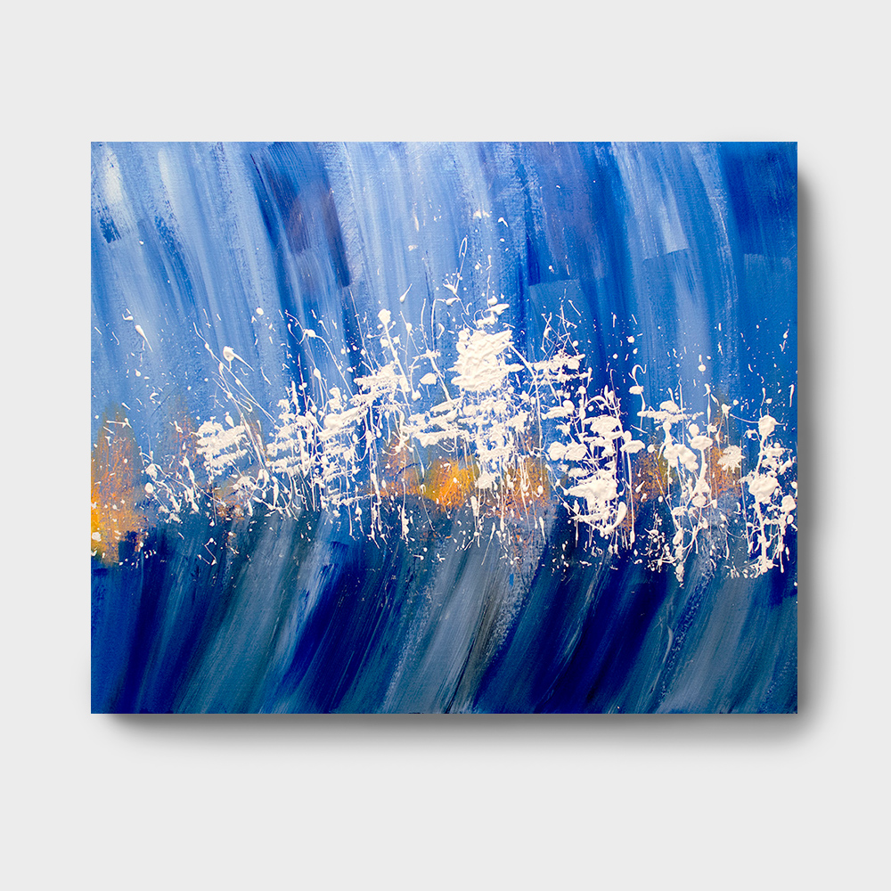 Blue white abstract paintings for Blue paintings on canvas