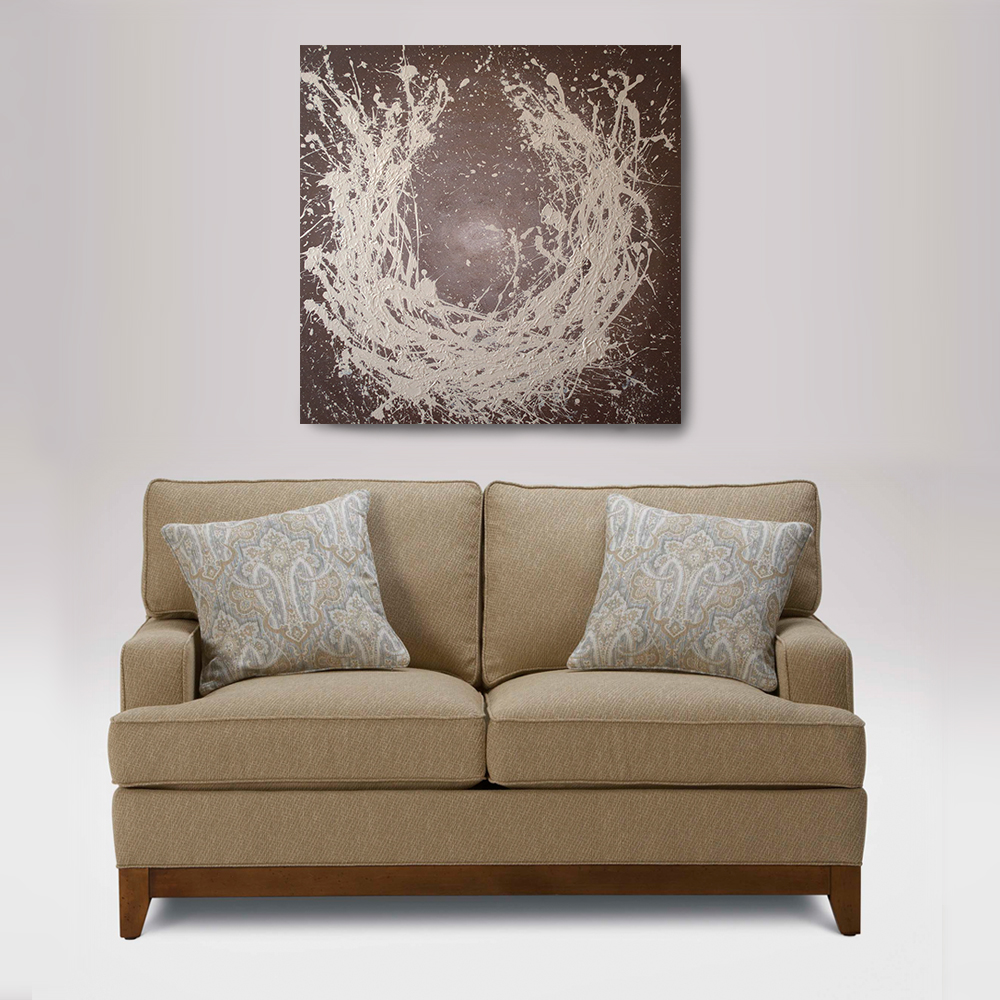 Acrylic abstract painting 36 x 36 enso painting brown for Home decor zen
