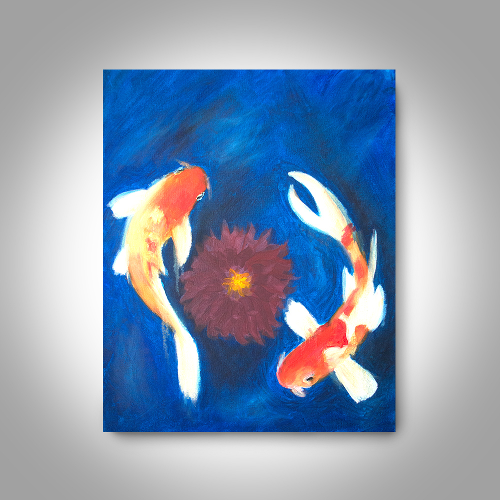 Koi oil painting 20 x 16 canvas painting wall art home for Koi home decor