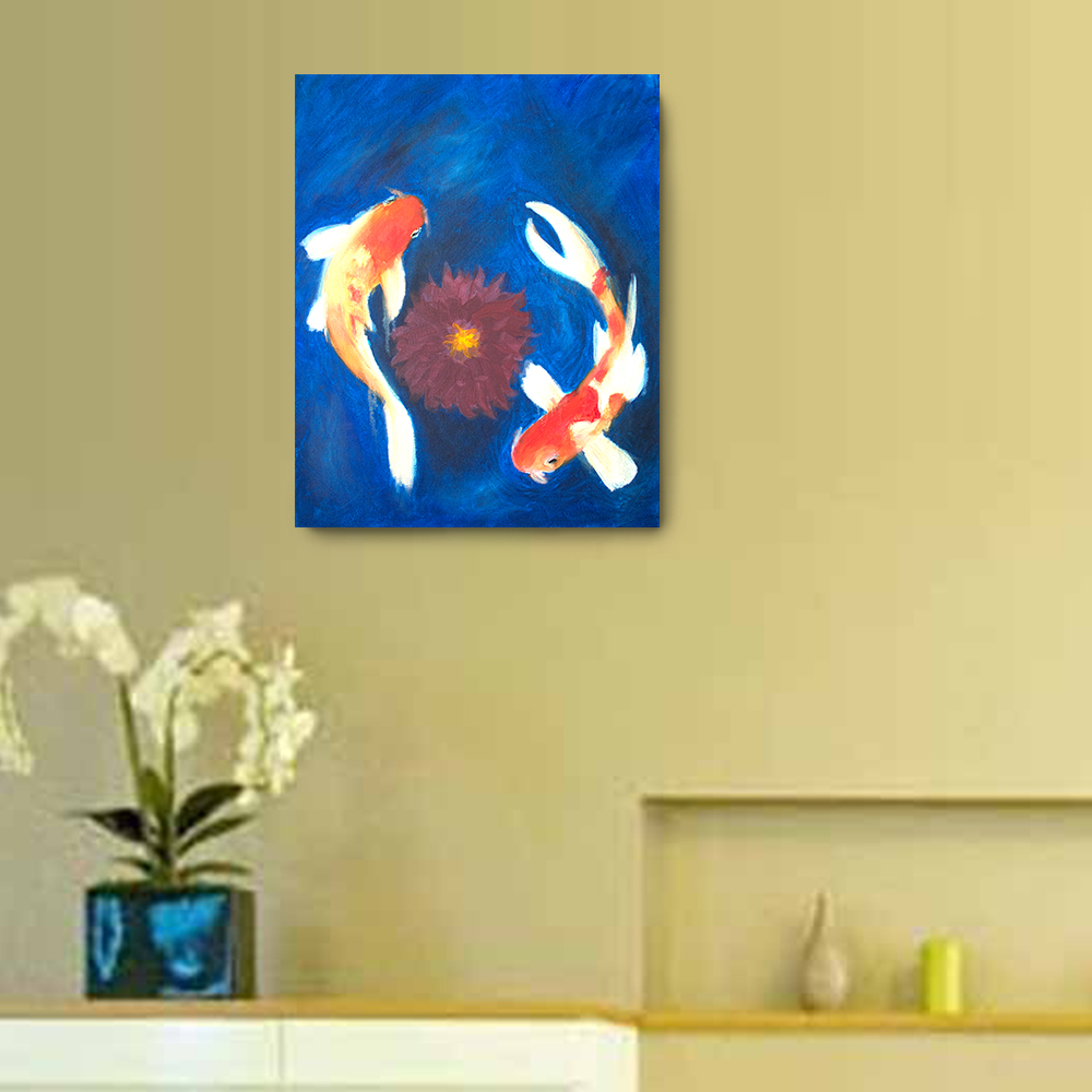 Koi Oil Painting - 20 x 16 Canvas Painting, Wall Art, Home Decor ...