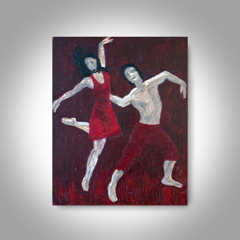Acrylic Red Painting 20 x16 Canvas Painting Embrace in