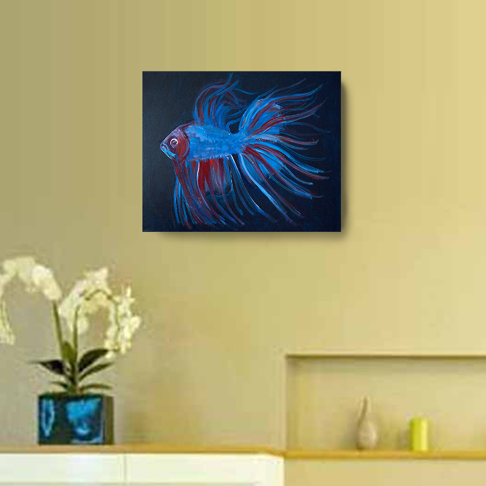 Acrylic Fighting Fish - 20 x16 Canvas Painting, Wall Art, Home Decor ...