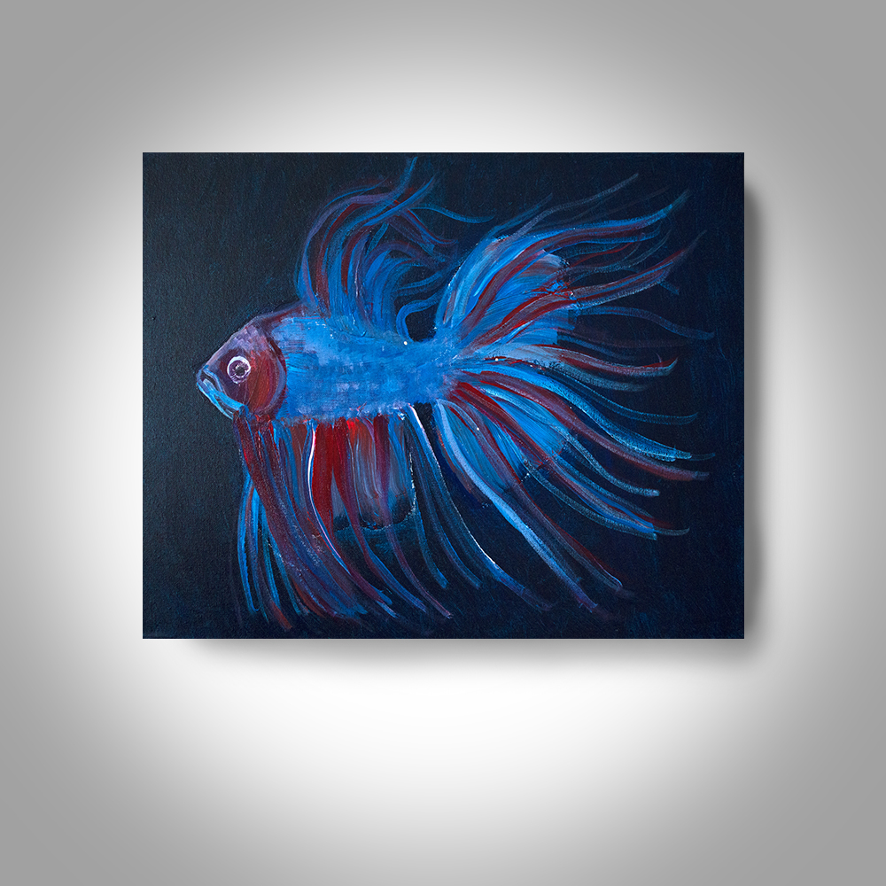 Acrylic Fighting Fish 20 X16 Canvas Painting Wall Art Home Decor