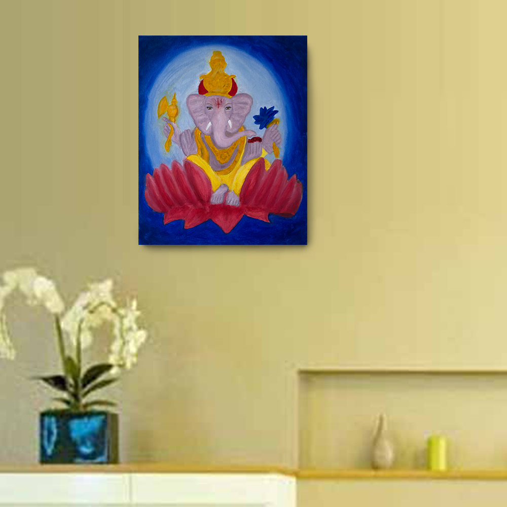 Ganesha Oil Painting - 20 x16 Canvas Painting, Wall Art, Home Decor ...