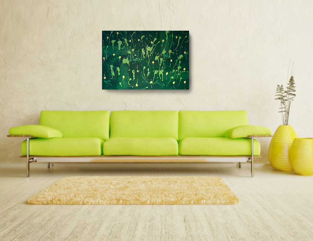 Acrylic Abstract Painting - 36 x 24 Green Painting , Canvas Painting ...