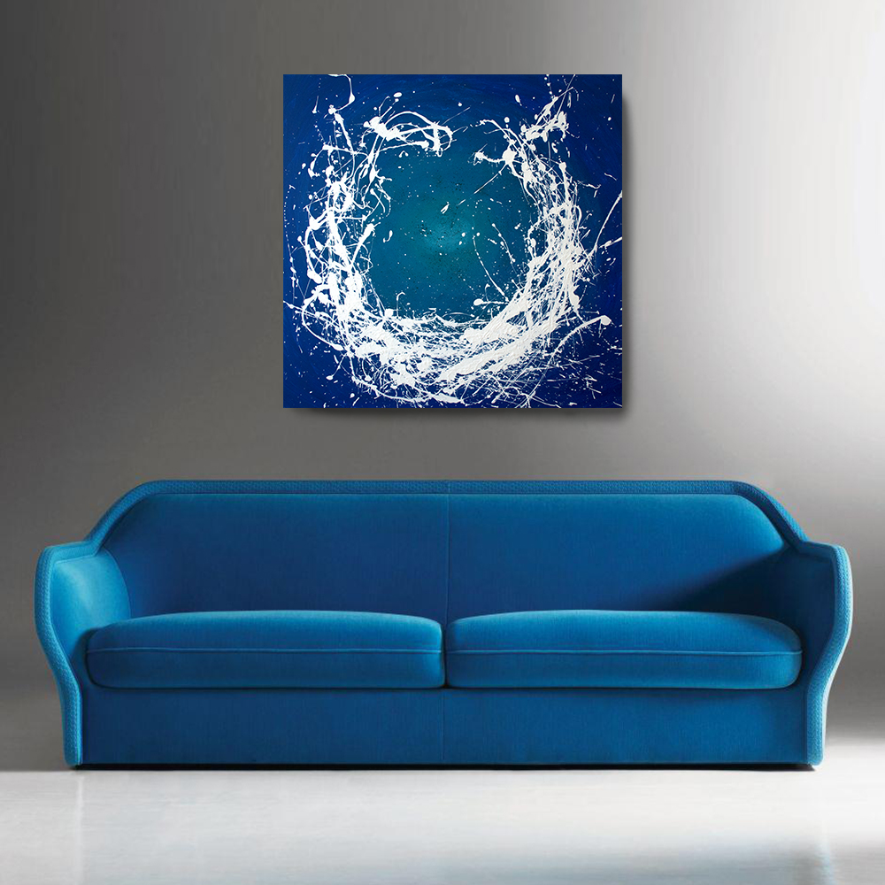 Acrylic Abstract Painting 36 X 36 Enso Painting Blue