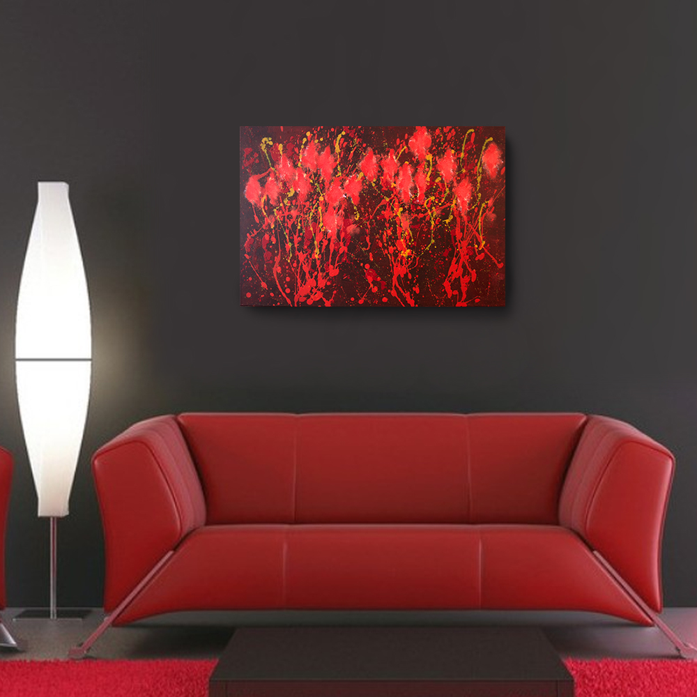 Acrylic Abstract Painting 36 x 24 Red Painting Canvas