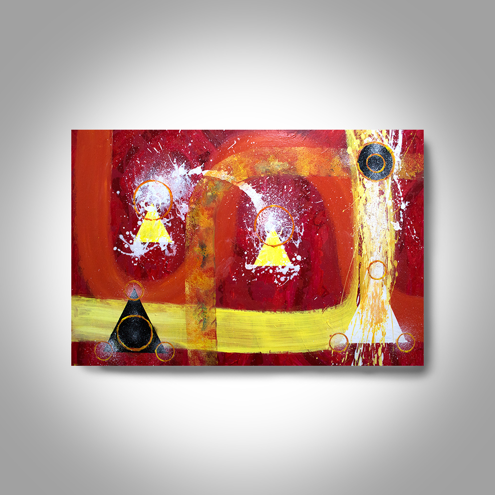 acrylic abstract painting 36 x 24 red painting canvas painting