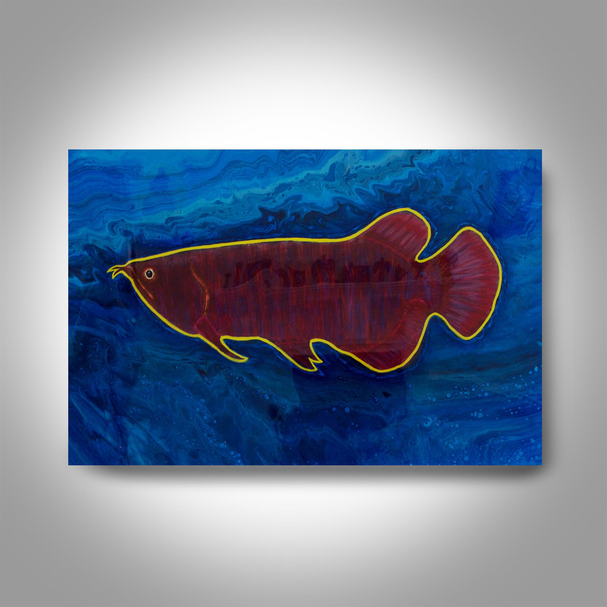 Acrylic Arowana Painting 36 X 24 Fish Painting Canvas